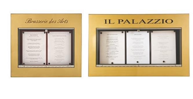 L 39 univers des cartes et menus delfosse for Porte menu restaurant exterieur